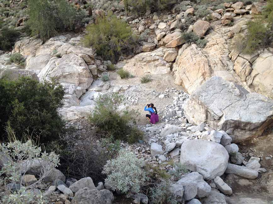 Woman, Camera, Crouching, Photography, White Arroyo, Boulders, White Tank Mountains, Phoenix, Glendale, Arizona