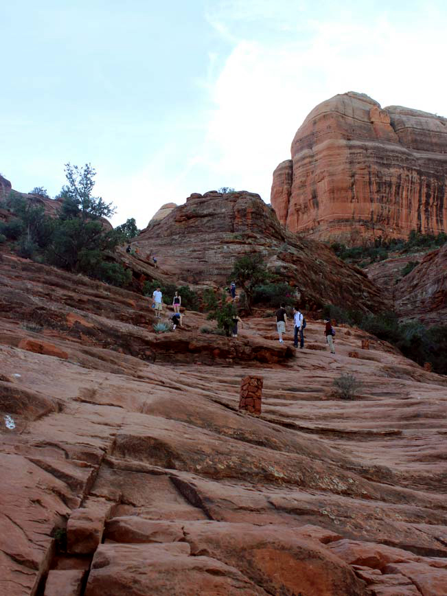 Hikers, Red Rock, Cathedral Rock Hiking Trail, Basket Cairns, Cathedral Rock, Sedona, Arizona