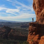 Panorama, View, Woman, Arms Up, Sedona, Arizona, Cathedral Rock, Cliffs, Cathedral Rock Hiking Trail, Sedona Area, Best Sedona Hikes