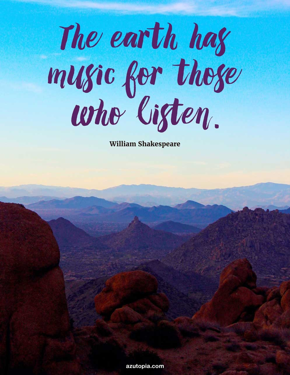 Inspiration, Quote, Shakespeare, Landscape, Pinnacle Peak, Scottsdale, Phoenix, Arizona, Dusk, Inspiring Shakespeare Quote