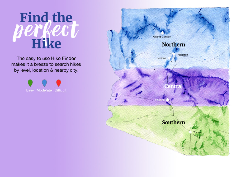 Finding a Hike, Watercolor, Map, Arizona, Northern, Central, Southern,Hiking Regions.