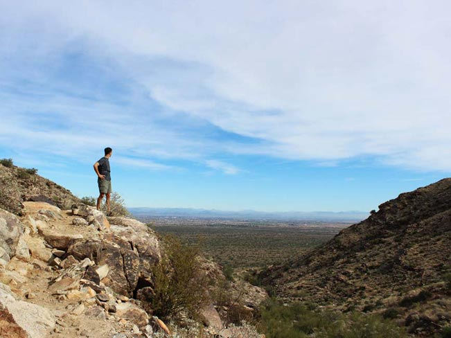 Mesquite Canyon Trail Hiking Trail, Wadell, Phoenix, Arizona, Man, Vista, White Tank Mountains, Overlook, Hiking, Desert, Sky
