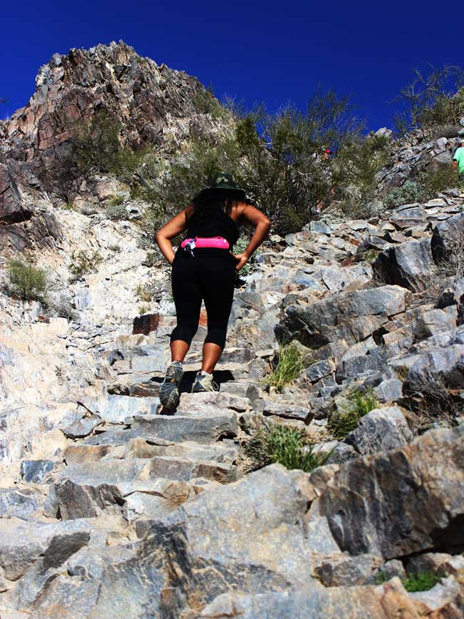Woman, Hiking, Stones, Steps, Trail, Piestewa Peak, Piestewa Peak Summit Hiking Trail, Phoenix, Arizona