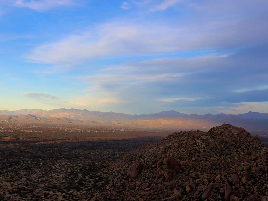 Scenic View, from Tom's Thumb Hiking Trail, Dusk over Mountains, Boulders, Sunset, Scottsdale, Phoenix, Arizona