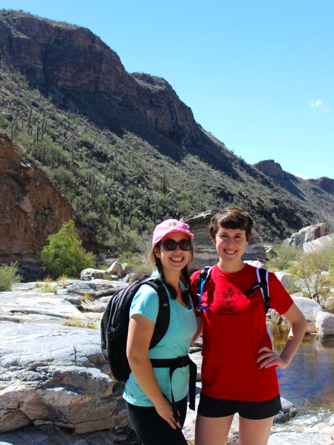 Portrait, Two Young Women, Hikers, Arizona, Tucson, Bear Canyon Trail, Sabino Mountains