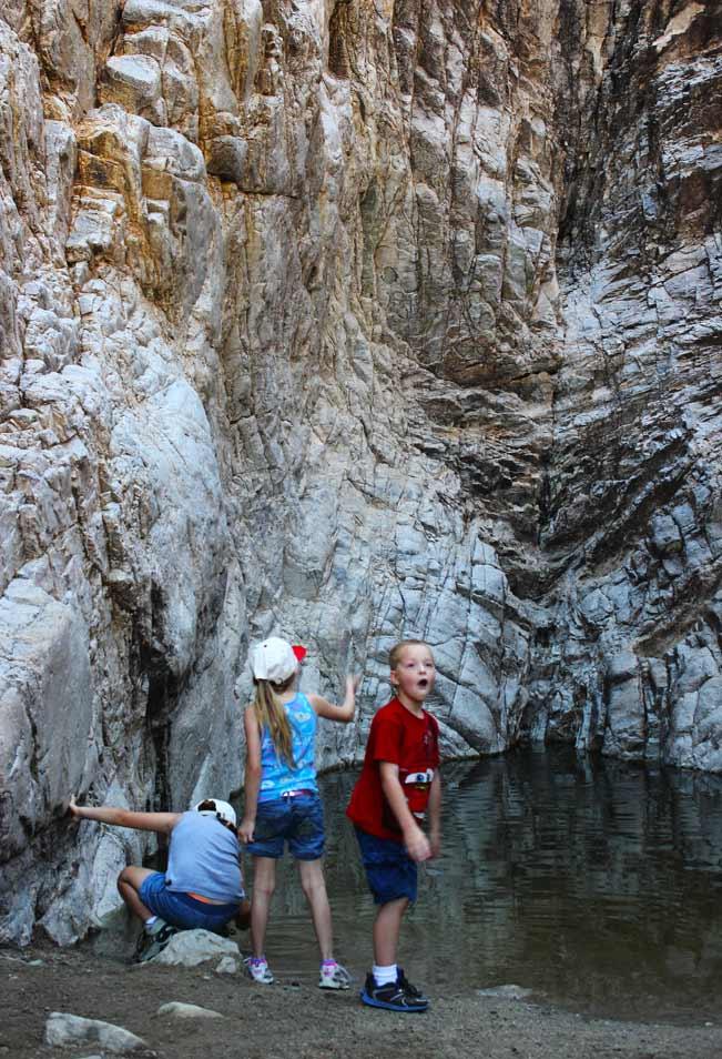 Arizona, Phoenix, Wadell, White Tank Mountains, Hiking, Kids, Playing, Pool of Water, Canyon, Waterfall Hiking Trail