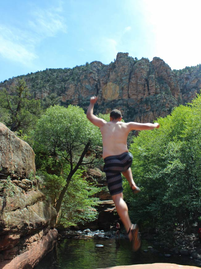 Young Man, Jumping, Ledge, Swimming Hole, Canyons, Wet Beaver Creek Valley, Arizona, Bell Trail, Sedona
