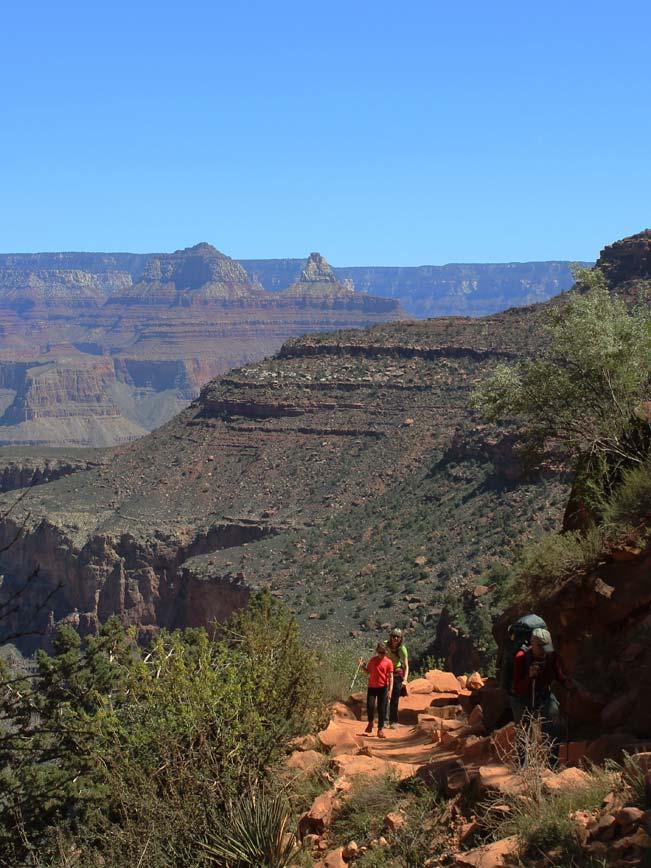 Hikers, Backpacker, Arizona, Grand Canyon, Bright Angel Hiking Trail, Landscape