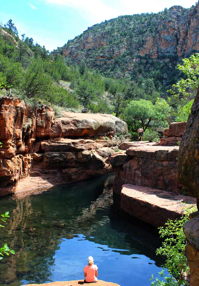 Hikers, Swimming Hole, Canyons, Wet Beaver Creek Valley, Arizona, Bell Trail, Sedona