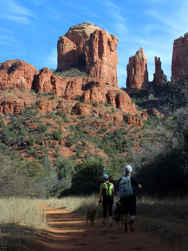 Landscape, Two Hikers, Dog, Sedona, Arizona, Baldwin Loop Hiking Trail, Oak Creek, Cathedral Rock