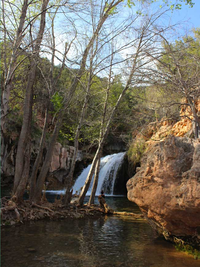 Landscape, Fossil Creek, Waterfall, Arizona, Coconino Forest. Fossil Creek Waterfall Trail