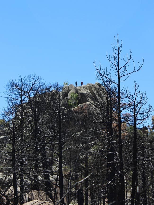 Two Hikers, Pinnacle, Prescott, Arizona, Granite Mountain Hiking Trail, Singed Trees