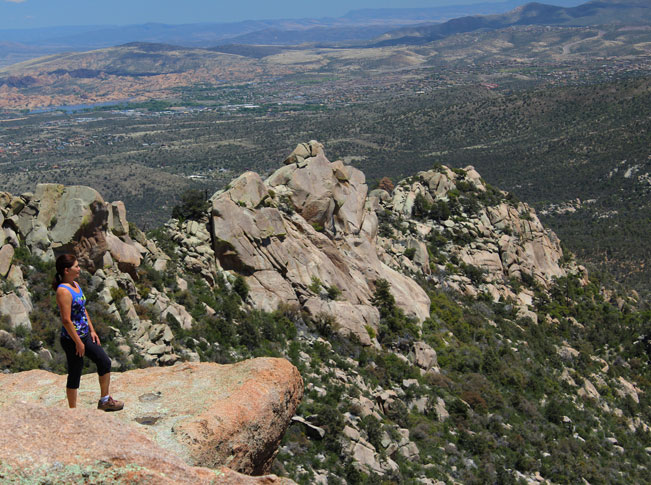 Woman, Hiker, Landscape, View, Prescott, Arizona, Granite Mountain, Granite Mountain Hiking Trail, Ledge, Vista