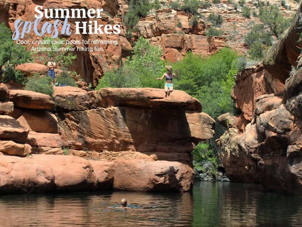 Hikers, Swimming Hole, Canyons, Wet Beaver Creek Valley, Arizona, Bell Trail, Sedona, Arizona Water Hikes