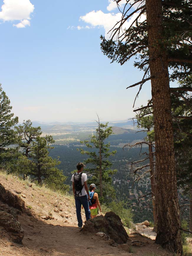 Hikers, Mountain Top, Flagstaff, Arizona, Elden Lookout Hiking Trail, View, Plains