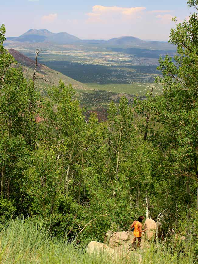 Hiker, Flagstaff, Arizona, Landscape, Views, Elden Mountain, Elden Lookout Hiking Trail, Aspens,Plains,