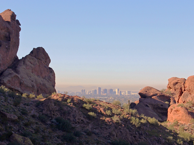 Landscape, View, Phoenix, Skyline, Canyons, Camelback Mountain, Echo Canyon Hiking Trail, Arizona