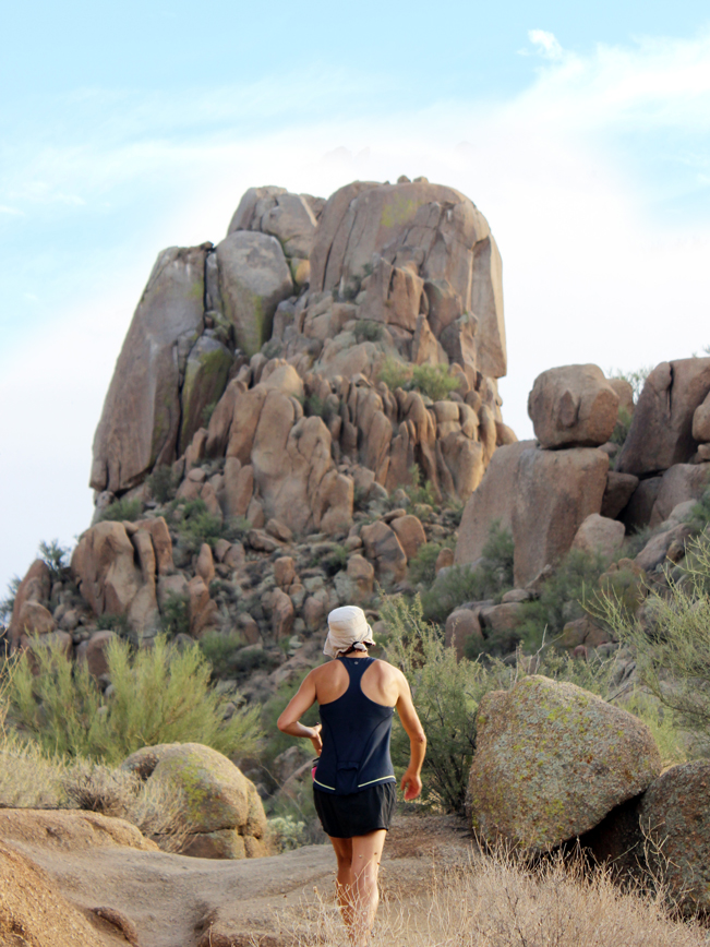 Female, Hiker, Rocky, Summit, Scottsdale, Arizona, Pinnacle Peak Mountain, Pinnacle Peak Hiking Trail