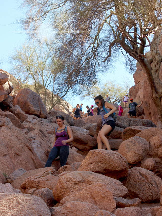Landscape, View, Hikers, Boulders, Camelback Mountain, Echo Canyon Hiking Trail, Phoenix, Arizona
