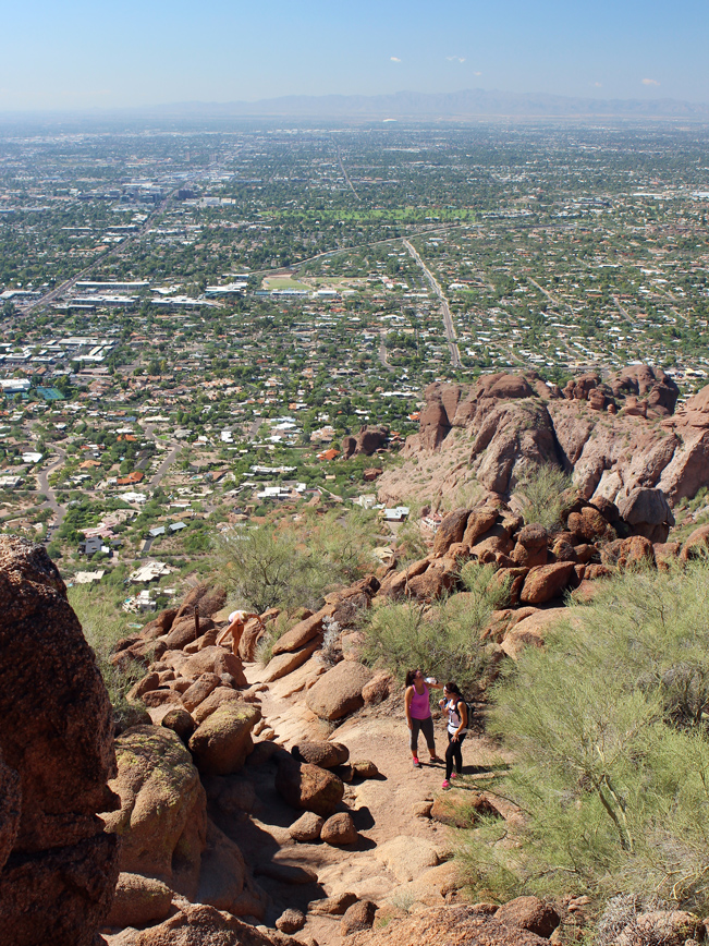 Aerial, Landscape, View, Hikers, Mid-point, Camelback Mountain, Echo Canyon Hiking Trail, Phoenix, Arizona