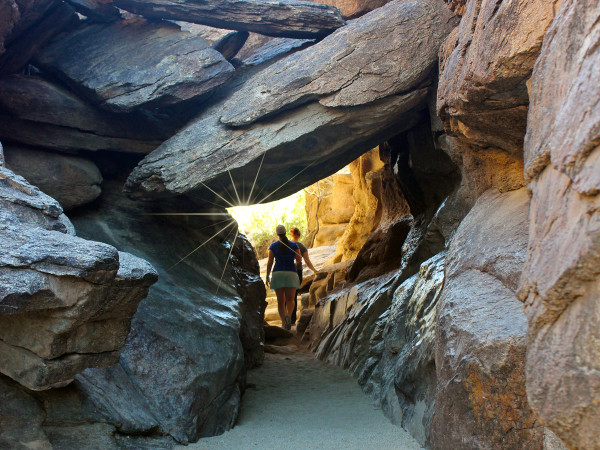 Landscape, Two Hikers, Women, Friends, Rock Tunnel, Phoenix, Arizona, Hidden Valley, Mormon Hiking Trail