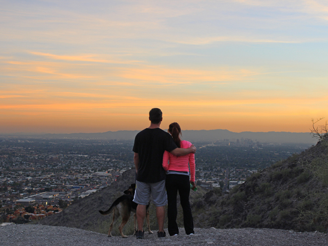Romantic, View, Hikers, Couple, Dog, North Mountain Hiking Trail, Overlook, Sunset, Phoenix, Arizona