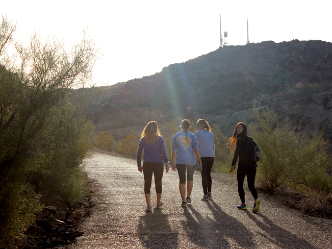 Landscape, View, Young Women, Hikers, Paved Trail, Phoenix, Arizona, North Mountain National Hiking Trail, with the North Mountain, Satellite Towers