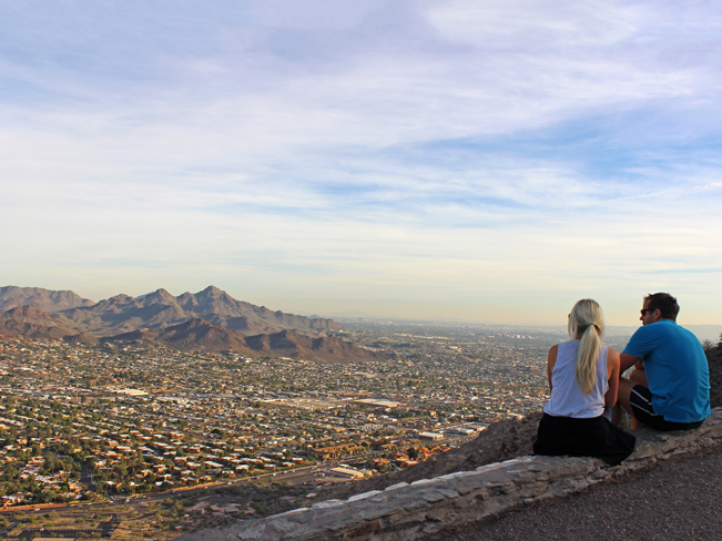 Hikers, Couple, Sitting, Overlook, Phoenix, Arizona, North Mountain, North Mountain Hiking Trail, View, Piestewa Peak