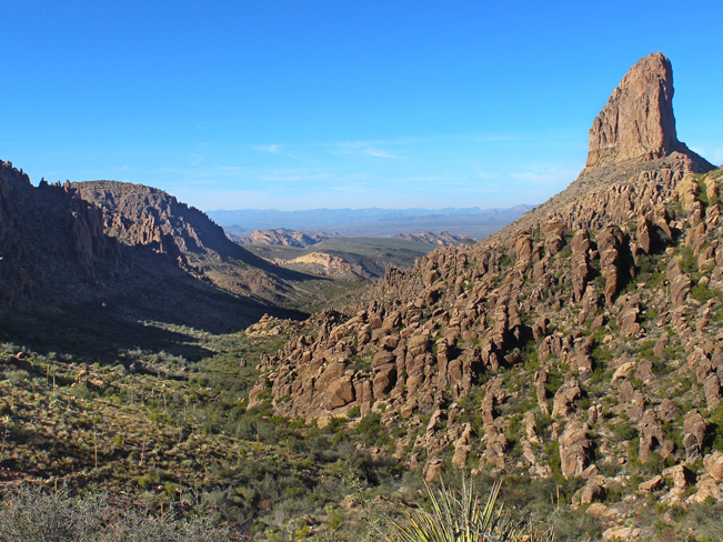 Landscape, View, Weaver's Needle, Arizona, Superstition Mountains, Freemont Saddle, Peralta Hiking Trail.