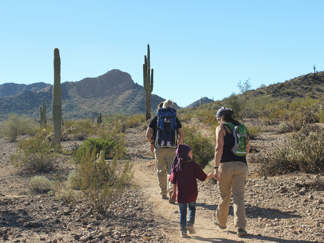 Family, Hikers, Rainbow Valley and Toothaker Hiking Trail Loop, Goodyear, Arizona, Estrella Mountain Regional Park, Phoenix, Views, Mountains, Saguaros