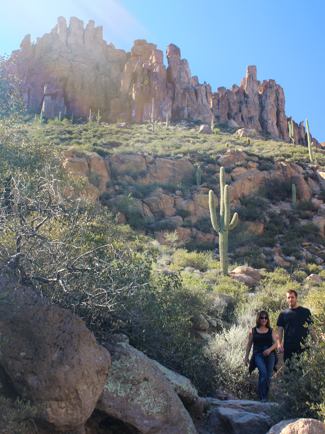 Landscape, View, hikers, Peralta Hiking Trail, Ridge, Hoodoos, Peralta Valley, Arizona, Superstition Mountains, Phoenix