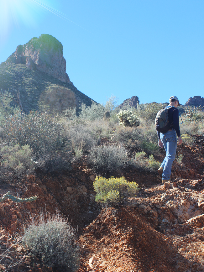 Landscape, View, Cliffs, Man, Hiker, Cave Creek, Arizona, Elephant Mountain Hiking Trail Loop, Phoenix, Spur Cross Conservation Area