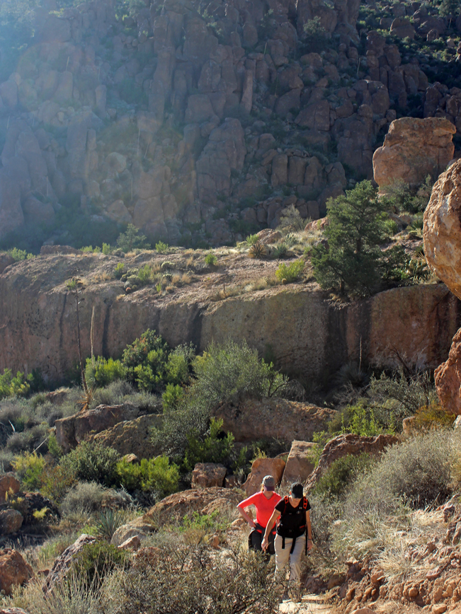 Women, Hikers, Peralta Hiking Trail, Peralta Valley, Ridge, Hoodoos, Arizona, Superstition Mountains, Phoenix