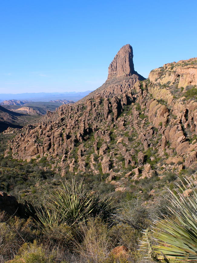 Landscape, View, Weavers Needle, Freemont Saddle, Peralta Hiking Trail, Arizona, Superstition Mountains, Phoenix.