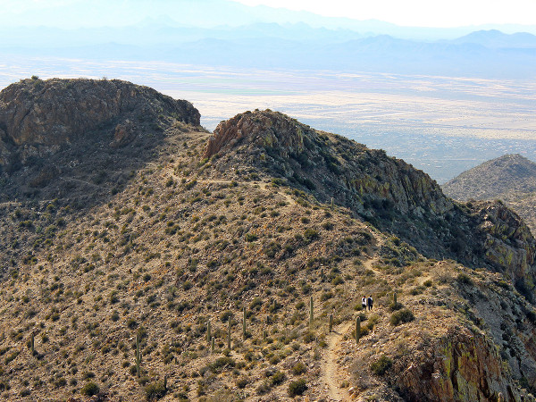 Landscape, View, King Canyon Hiking Trail, Tucson, Arizona, Hikers, Ridgeline, Peak, Saguaro National Park, Tucson Mountains, Wasson Peak