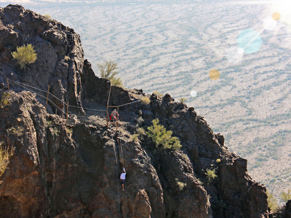 Birds-Eye, Landscape, View, Two Hikers, Ascending, Cables, Steep, Rock Scramble, Hunter Hiking Trail to Picacho Peak, Tucson, desert