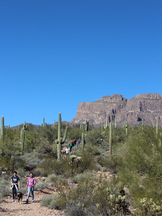Two, Hikers, Dog, Hieroglyphics Hiking Trail, Phoenix, Arizona, Views, Flat Iron Superstition Mountains, Gold Canyon