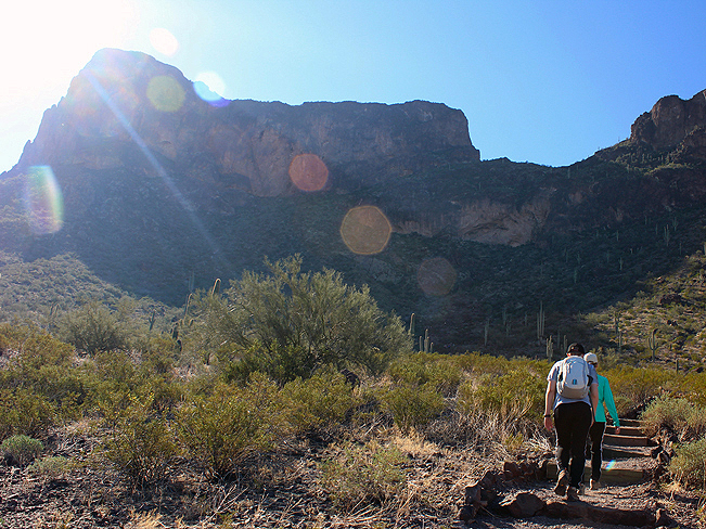 Landscape, View, Hikers, Hunter Hiking Trail to Picacho Peak, Tucson, Cliffs, Mountains