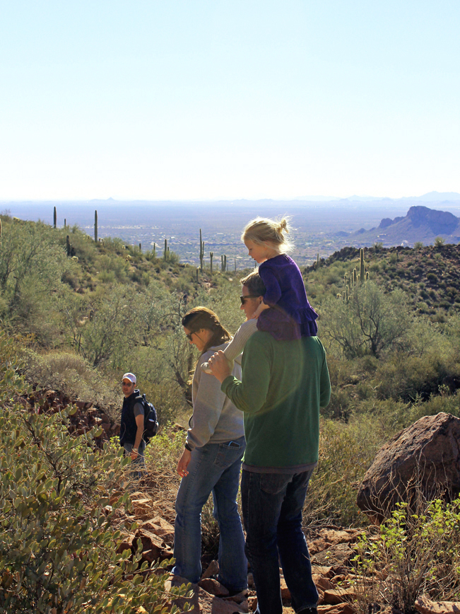 Family, Hikers, Girl, Hieroglyphics Hiking Trail, Gold Canyon, Arizona, Superstition Mountains, Phoenix