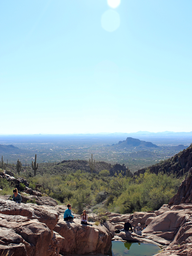 Hikers, Resting, Boulders, Pools, Water, The Hieroglyphics Hiking Trail, Superstition Mountains, Gold Canyon, Arizona, Phoenix