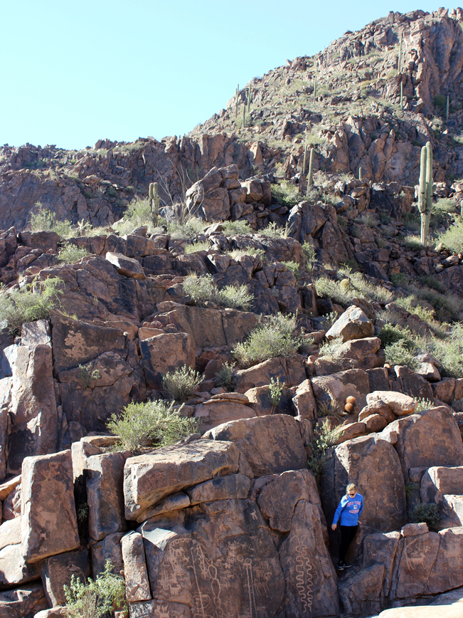 Hiker, Boulders, The Hieroglyphic Hiking Trail, Superstition Mountains, Gold Canyon, Arizona, Phoenix