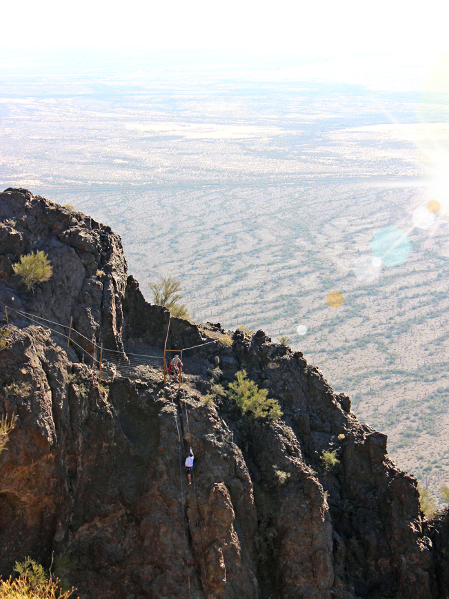 Hiker, Ascending, Steep, Rock Face, Hunter Hiking Trail to Picacho Peak, and another on the Mountain Rim, Desert, Tucson, Arizona