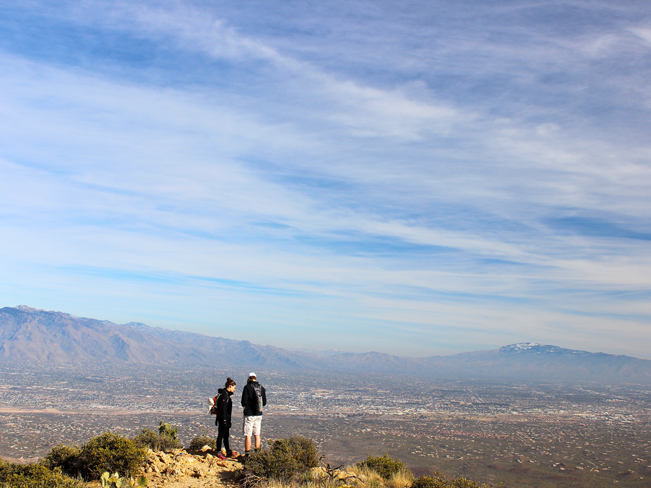Landscape, View, Two Hikers, Summit, Wasson Peak, King Canyon Hiking Trail, Saguaro National Park, Tucson Mountains, Tucson, Arizona,