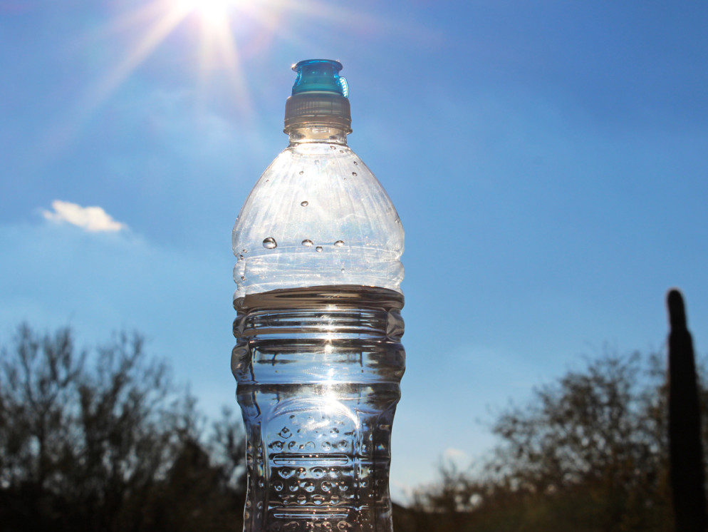 Bottle of Water, sunny, Sky, Arizona, Palo Verdes, Saguaro