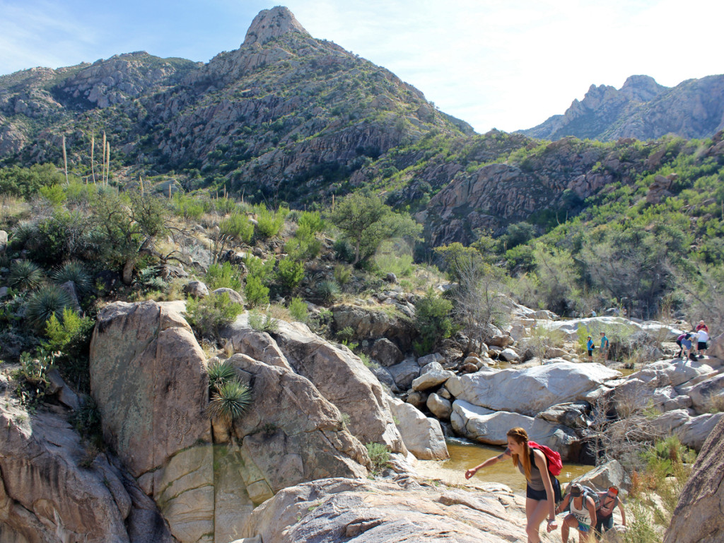 Landscape, view, hikers, Romero Hiking Trail, Santa Catalina Mountains, Tucson, Arizona, Romero Pools, Waterfall, Water Hikes, Tucson Area