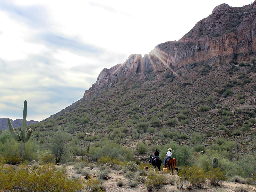 Landscape, View, Horseback Riders, Malpais Mountains, Arizona, San Tan Regional Park, San Tan Hiking Trail.