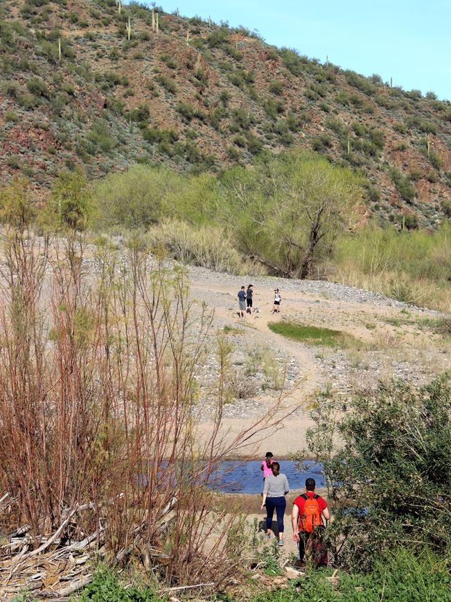 Landscape, View, Hikers, Aqua Fria River, Horseshoe Bar, Beach, Rock Springs Spur Trail, Black Canyon Trail, Bradshaw Mountains, Black Canyon City, Phoenix Area, Arizona, Water Hikes