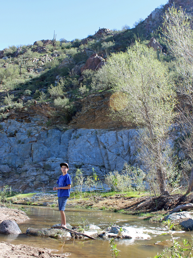 Young Hiker, Landscape, View, Aqua Fria River, Stepping Stones, Horseshoe Bar, Beach, Rock Springs Spur Trail, Black Canyon Trail, Bradshaw Mountains, Black Canyon City, Phoenix Area, Arizona, Water Hikes