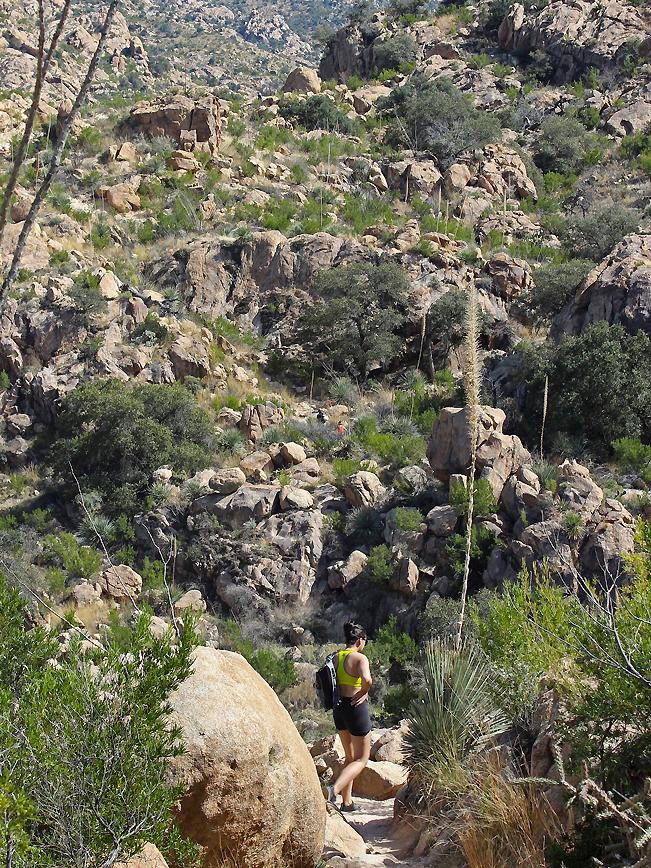 Landscape, View, Female, Hiker, Romero Hiking Trail, Santa Catalina Mountain, Romero Canyon, Tucson, Arizona, Boulders, Canyon, Tucson Area Hikes, Water Hikes
