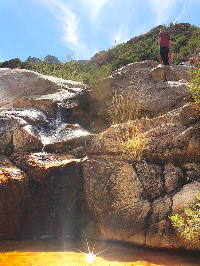 Hiker, Waterfall, Pool, Romero Hiking Trail, Santa Catalina Mountains, Romero Canyon, Tucson, Arizona, Tucson Area Hikes, Water Hikes